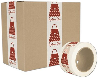 "White Custom Printed Tape, 1 Color, 3"" x 55 Yds"