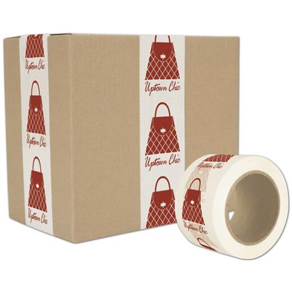 "White Custom Printed Tape, 1 Color, 3"" x 55 Yds"