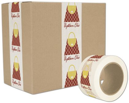 "White Custom Printed Tape, 2 Colors, 3"" x 55 Yds"