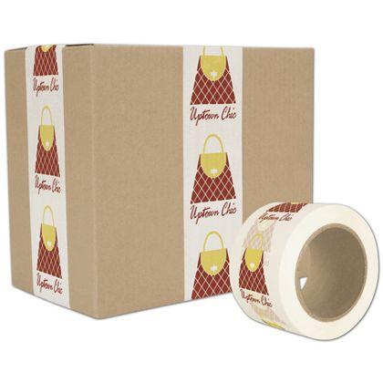 "White Custom Printed Tape, 2 Colors, 3"" x 55 Yds"