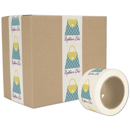 "White Custom Printed Tape, 3 Colors, 3"" x 55 Yds"