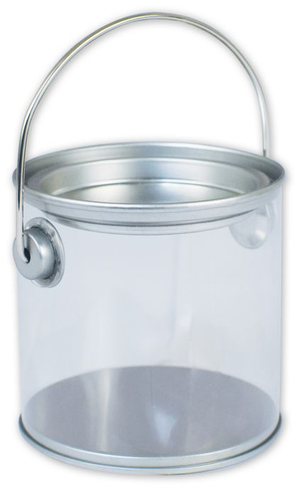 "Silver Clear Pails, 3 "" Diameter x 3"" High"