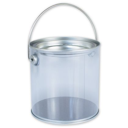 "Silver Clear Pails, 4 "" Diameter x 4"" High"