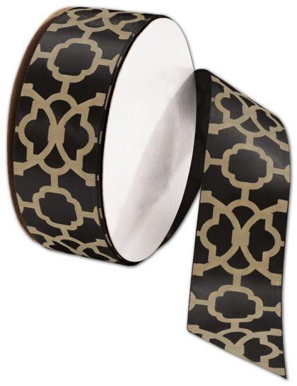 """Tangiers Black/Gold Ribbon, 1 1/2"""" x 25 Yds"""