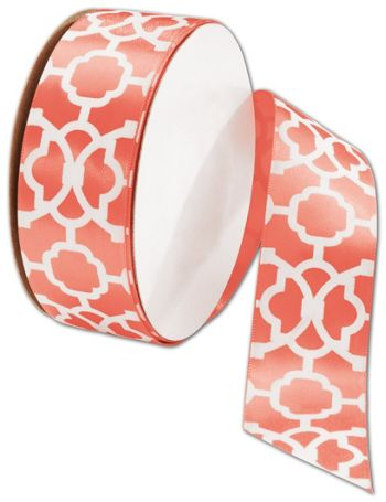 Tangiers Living Coral Ribbon, 1 1/2