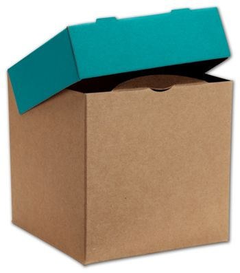 Kraft/Blue Treasure Boxes, 4 x 4 x 4