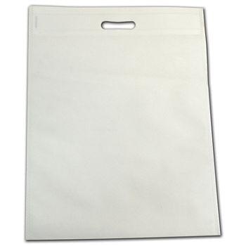 White Non-Woven Tuff Seal Merchandise Bags, 13 4/5x17 7/10