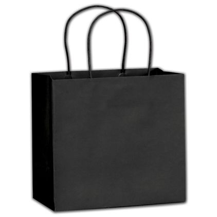 """Black Beater-Dyed Turn-Top Shoppers, 8 1/2 x 4 3/4 x 8"""""""