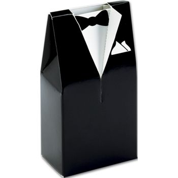 Black & White Tuxedo Favor Boxes, 2 x 1 1/4 x 4
