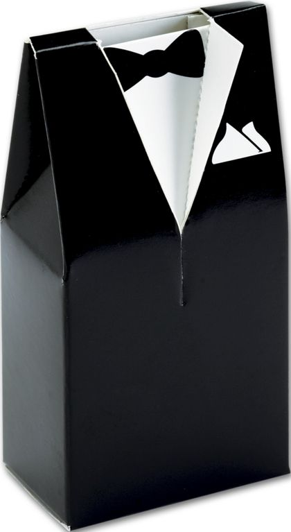 Black & White Tuxedo Favor Boxes, 2 x 1 1/4 x 4""