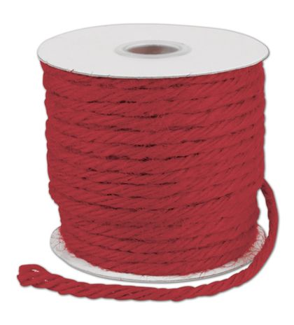 "Red Burlap Jute Rope Twine, 1/8"" x 25 Yds"