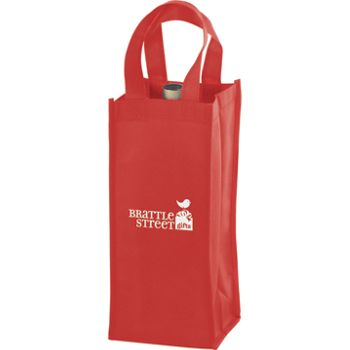 Red One Bottle Non-Woven Wine Bags, 5 x 5 x 12
