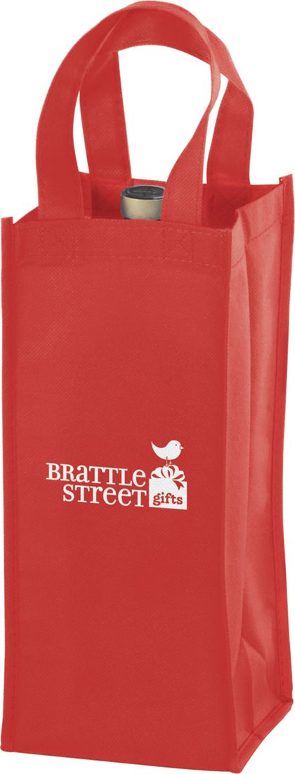 Red One Bottle Non-Woven Wine Bags, 5 x 5 x 12""