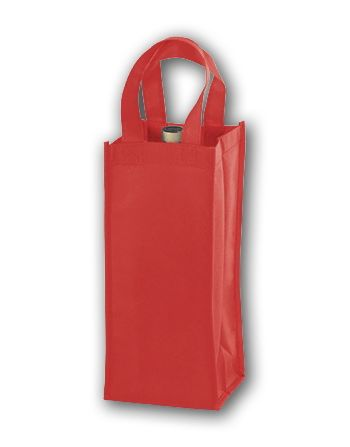 Red Unprinted One Bottle Non-Woven Wine Bags