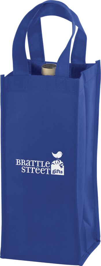 Royal Blue One Bottle Non-Woven Wine Bags, 5 x 5 x 12