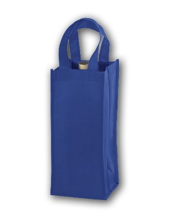 Royal Blue Unprinted One Bottle Non-Woven Wine Bags