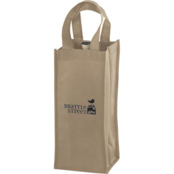 Tan One Bottle Non-Woven Wine Bags, 5 x 5 x 12""