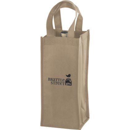 Tan One Bottle Non-Woven Wine Bags, 5 x 5 x 12