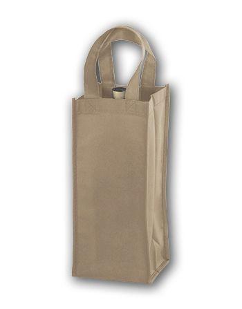 Tan Unprinted One Bottle Non-Woven Wine Bags
