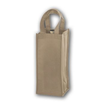 Tan Unprinted One Bottle Non-Woven Wine Bags