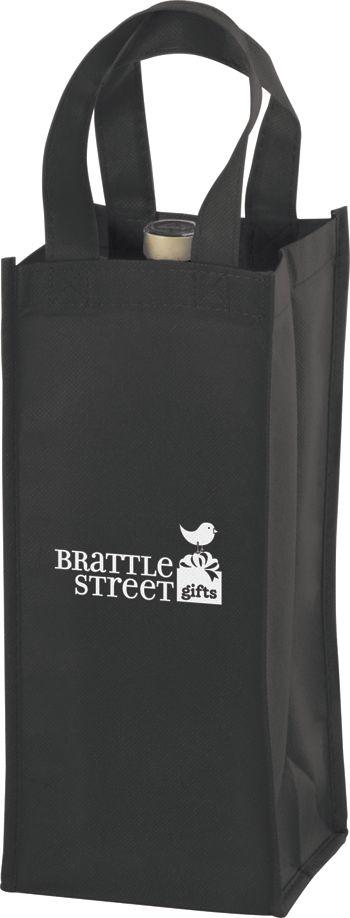 Black One Bottle Non-Woven Wine Bags, 5 x 5 x 12