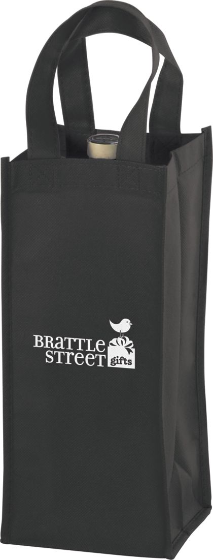 Black One Bottle Non-Woven Wine Bags, 5 x 5 x 12""