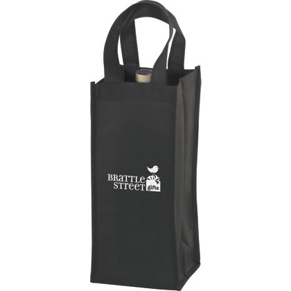 Black One Bottle Non-Woven Wine Bags, 5 x 5 x 12