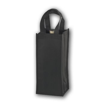 Black Unprinted One Bottle Non-Woven Wine Bags
