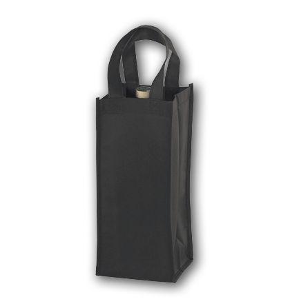Black Unprinted One Bottle Non-Woven Wine Bags
