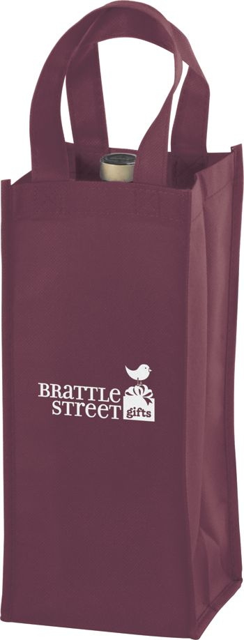 Burgundy One Bottle Non-Woven Wine Bags, 5 x 5 x 12