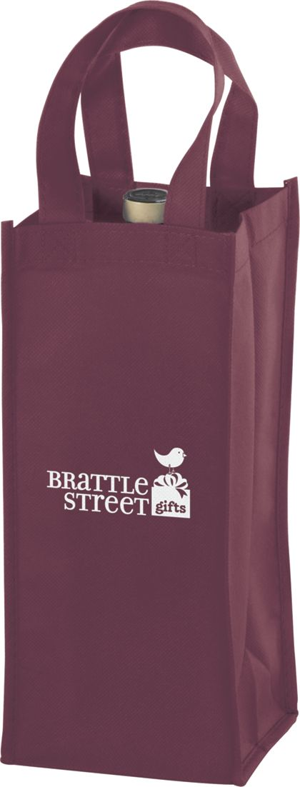 """Burgundy One Bottle Non-Woven Wine Bags, 5 x 5 x 12"""""""