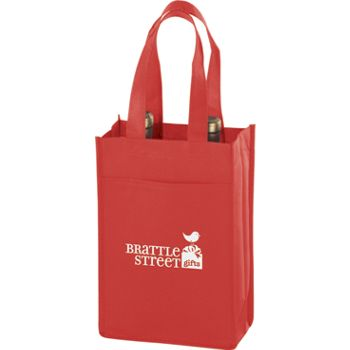 Red Two Bottle Non-Woven Wine Bags, 7 x 3 x 11