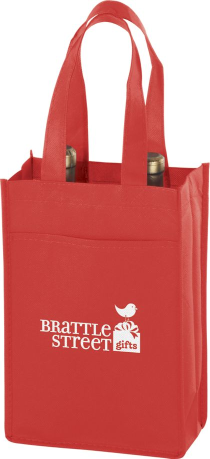 Red Two Bottle Non-Woven Wine Bags, 7 x 3 x 11""