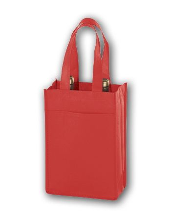 Red Unprinted Two Bottle Non-Woven Wine Bags