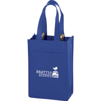 Royal Blue Two Bottle Non-Woven Wine Bags, 7 x 3 x 11