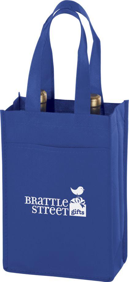 "Royal Blue Two Bottle Non-Woven Wine Bags, 7 x 3 x 11"""