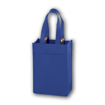 Royal Blue Unprinted Two Bottle Non-Woven Wine Bags