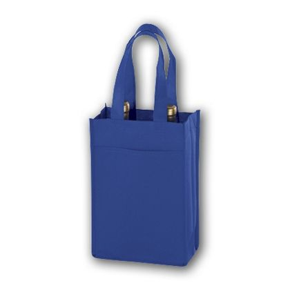 Royal Blue Unprinted Two Bottle Non-Woven Wine Bags