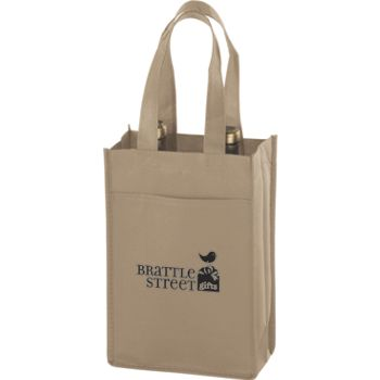 Tan Two Bottle Non-Woven Wine Bags, 7 x 3 x 11