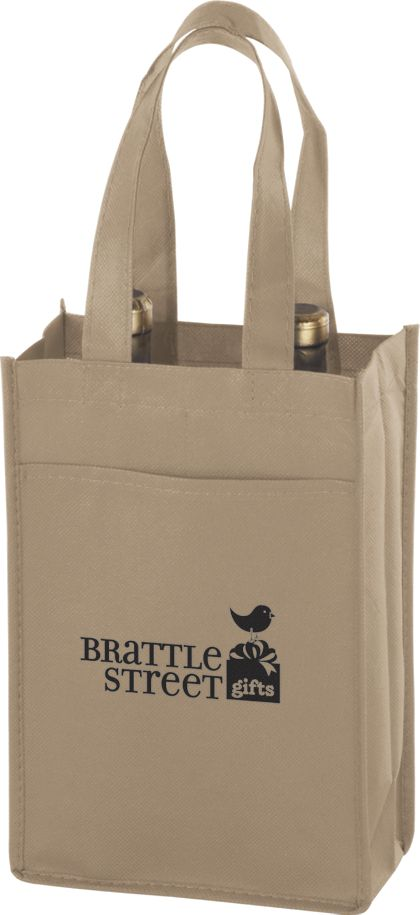 Tan Two Bottle Non-Woven Wine Bags, 7 x 3 x 11""