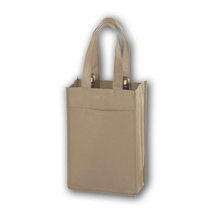 Tan Unprinted Two Bottle Non-Woven Wine Bags