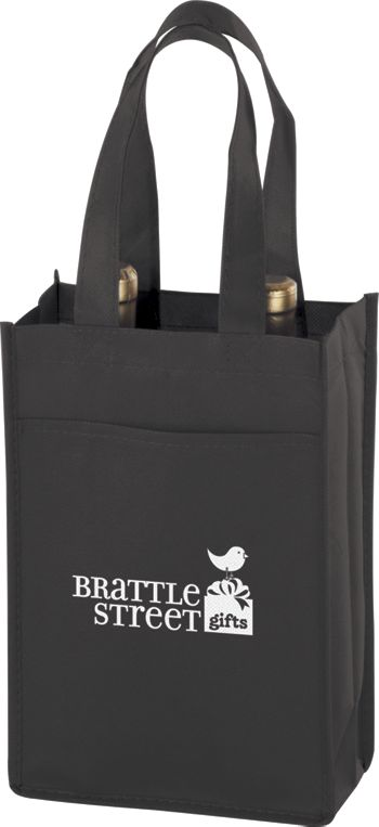 Black Two Bottle Non-Woven Wine Bags, 7 x 3 x 11