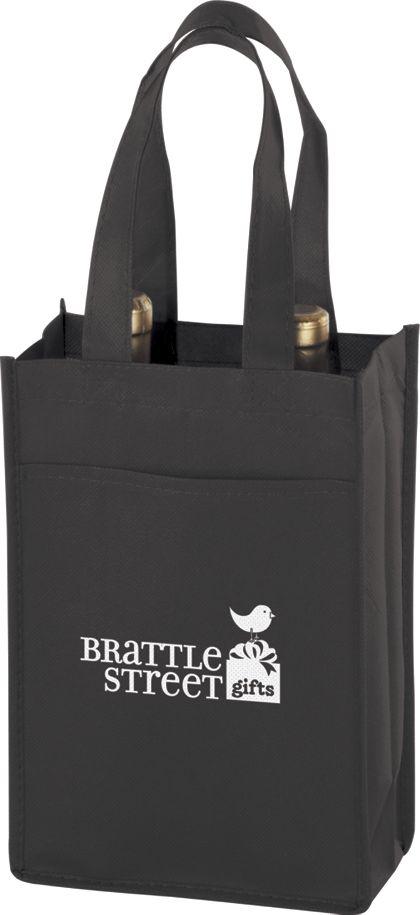 "Black Two Bottle Non-Woven Wine Bags, 7 x 3 x 11"""