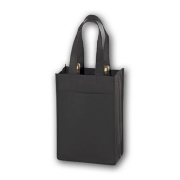 Black Unprinted Two Bottle Non-Woven Wine Bags