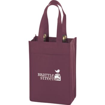 Burgundy Two Bottle Non-Woven Wine Bags, 7 x 3 x 11