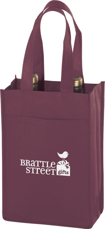 """Burgundy Two Bottle Non-Woven Wine Bags, 7 x 3 x 11"""""""