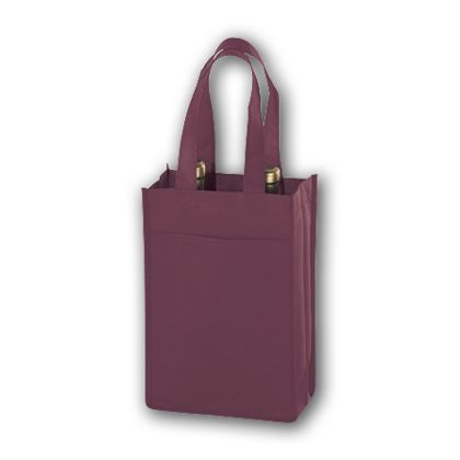 Burgundy Unprinted Two Bottle Non-Woven Wine Bags
