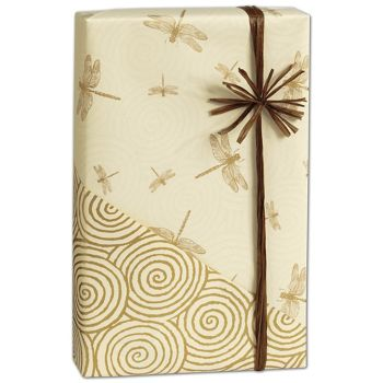 Dragonfly/Swirls Reversible Gift Wrap, 24