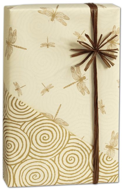 "Dragonfly/Swirls Reversible Gift Wrap, 24"" x 417'"
