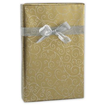 Gold/Silver Swirly Foil Gift Wrap, 24